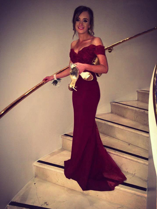 Elegant Mermaid Off-The-Shoulder Burgundy Sweep Train Prom Dress With Lace