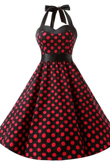 50s Fashion Vintage Style Halter Black Polka Dots Swing Retro Dress