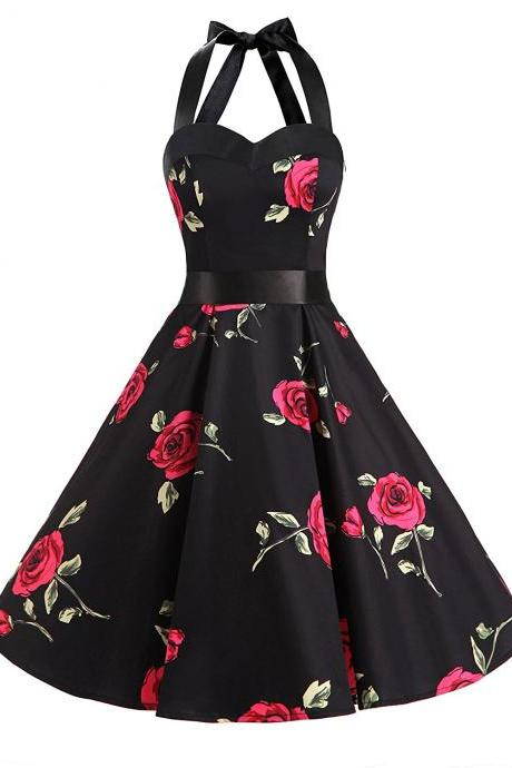 50s Fashion Vintage Style Halter Black Floral Print Party Dress