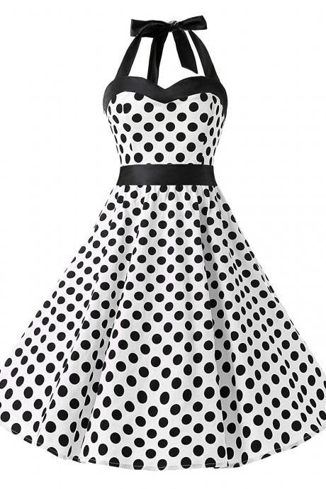 50s Vintage Style Halter White Polka Dots Swing Party Dress
