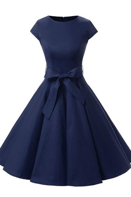 50s Fashion Rockabilly Style Scoop Dark Blue Vintage Dress With Bowknot
