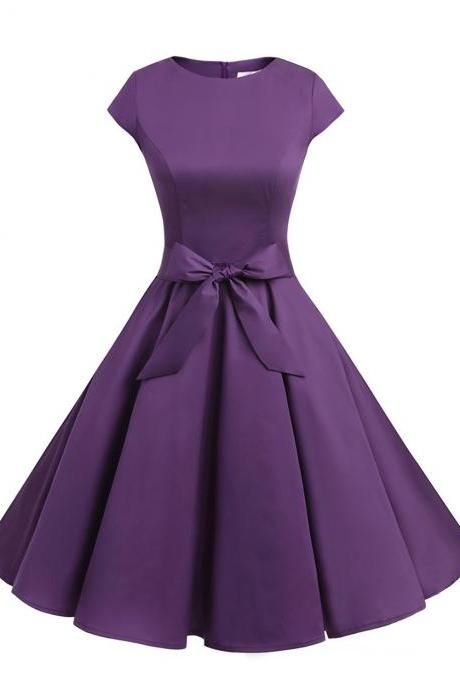 50s Rockabilly Style Cap Sleeves Purple Retro Swing Dress With Bowknot