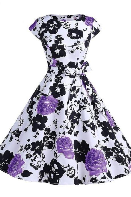 50s Fashion Retro Style Scoop Floral Print Vintage Dress With Bowknot