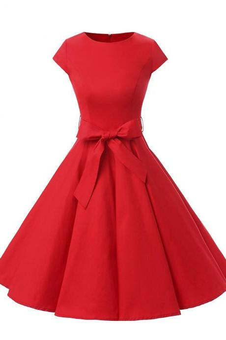 50s Vintage Style Scoop Cap Sleeves Red Ruched Retro Dress With Bowknot