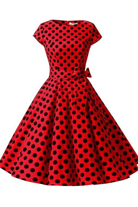 50s Fashion Rockabilly Style Red Polka Dots Vintage Dress With Bowknot