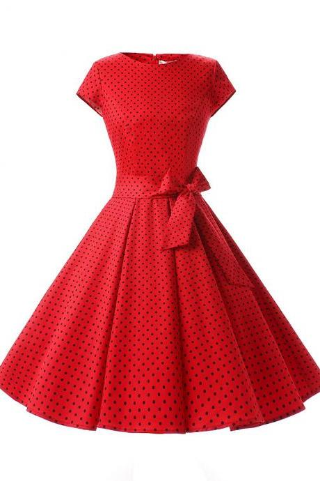 50s Rockabilly Vintage Style Red Polka Dots Ruched Retro Dress With Bowknot