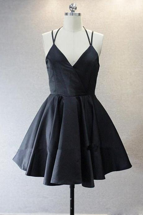 Simple A-Line Spaghetti Straps Black Short Homecoming Dress