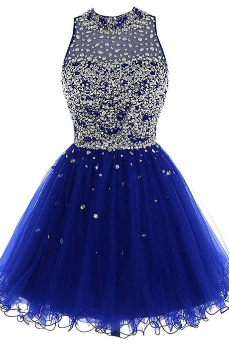 Fashion A-Line Jewel Sleeveless Open Back Short Homecoming Dress With Beading