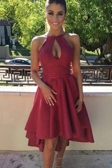 Sexy A-Line Halter Keyhole Burgundy High Low Homecoming Dress With Pleats