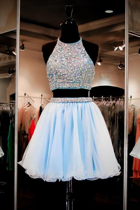 Fashion Two Piece A-Line Halter Backless Short Homecoming Dress With Beading