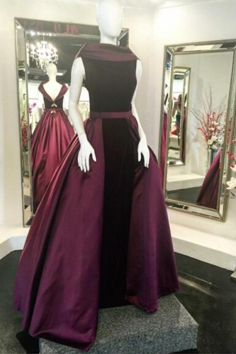 Unique A-Line Bateau Sleeveless Burgundy Long Prom/Evening Dress With Velvet