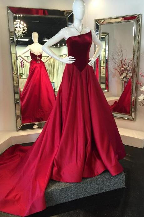 Unique A-Line Strapless Red Satin Sweep Train Prom Dress With Velvet