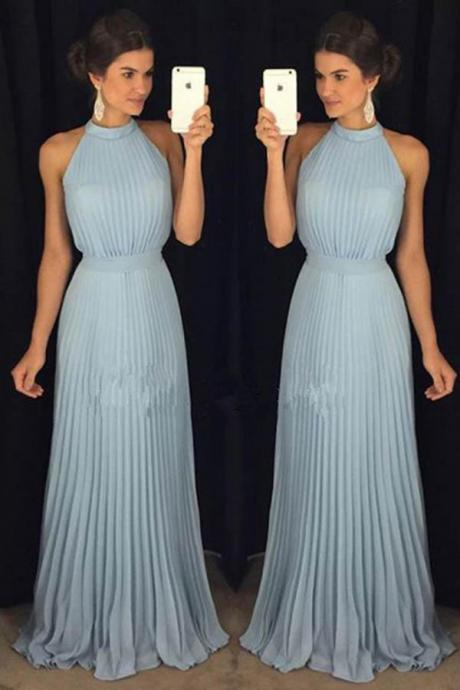 Elegant A-Line High Neck Sleeveless Long Prom/Evening Dress