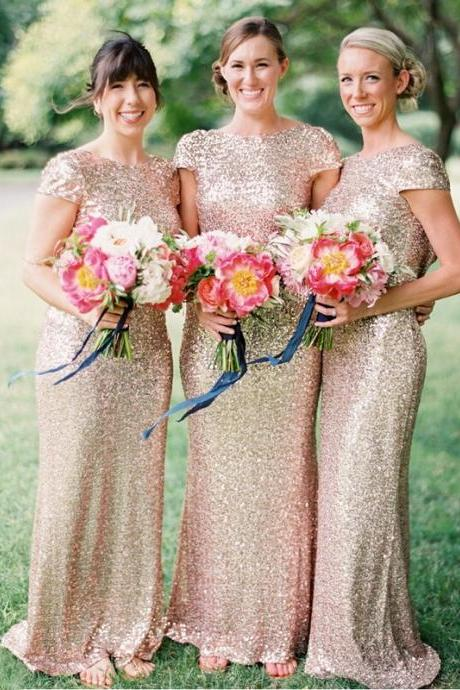 Charming Sheath Jewel Cap Sleeves Sequined Floor-Length Bridesmaid Dress