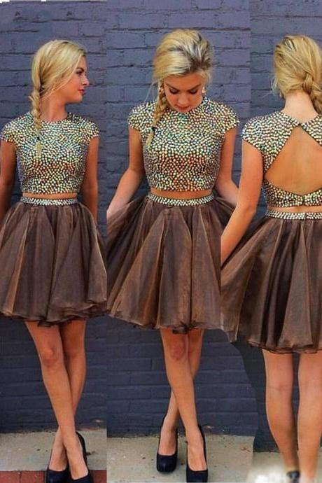 Chic Two Piece A-Line Jewel Cap Sleeves Open Back Short Homecoming Dress With Beading