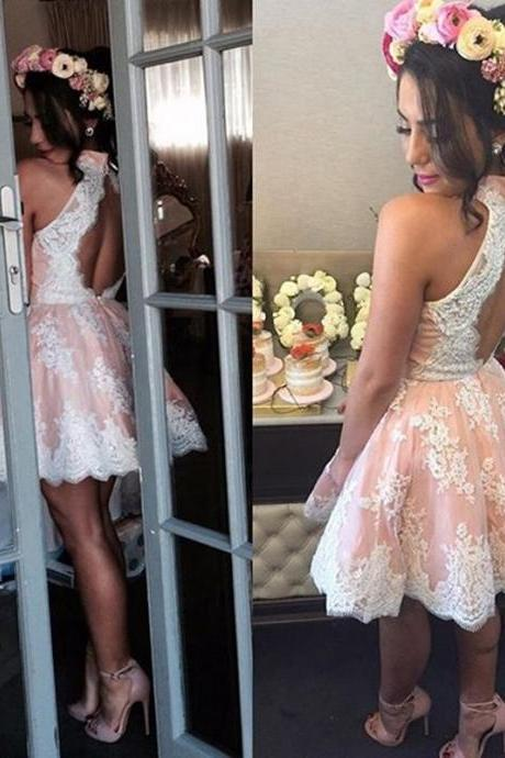 Fashion A-Line High Neck Sleeveless Open Back Short Homecoming Dress With Lace