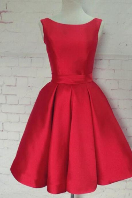 Elegant A-Line Bateau Open Back Red Homecoming Dress With Bowknot