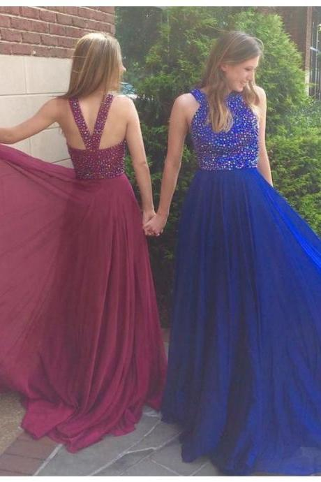 Charming A-Line Crew Criss-Cross Straps Long Royal Blue Prom Dress with Beading