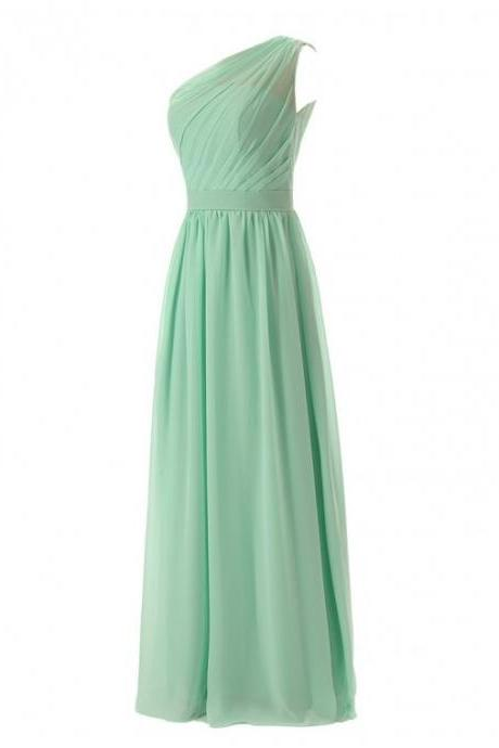 Simple A-Line One Shoulder Chiffon Long Bridesmaid Dress With Pleats