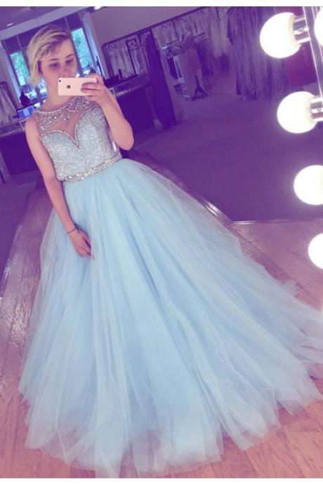 Elegant A-Line Crew Floor-Length Sequins Light Blue Prom Dress with Beading