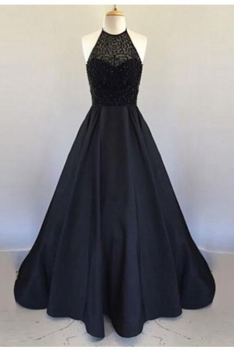 Elegant A-Line Halter Sleeveless Backless Long Black Prom Dress with Beading