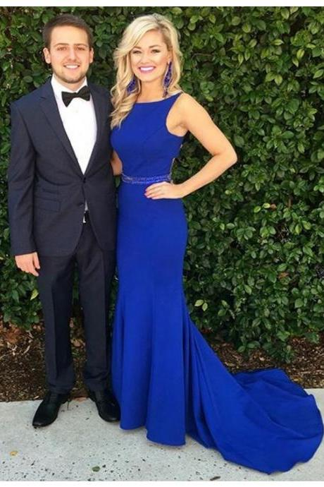 Decent Crew Neck Sleeveless Sweep Train Royal Blue Mermaid Prom Dress with Beading