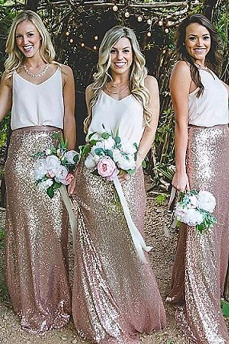 Elegant Sheath V-Neck Sleeveless Sequined Floor-Length Bridesmaid Dress