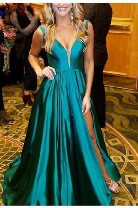 Sexy Hunter V-Neck Sleeveless Sweep Train Split A-line Prom Dress