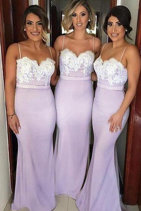 Hot Selling Mermaid Spaghetti Straps Sweep Train Bridesmaid Dress With Lace