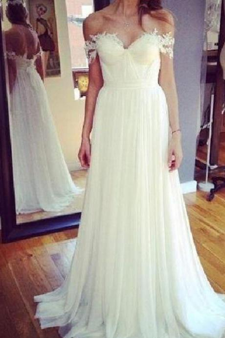 Elegant A-Line Off-The-Shoulder White Long Wedding Dress With Appliques