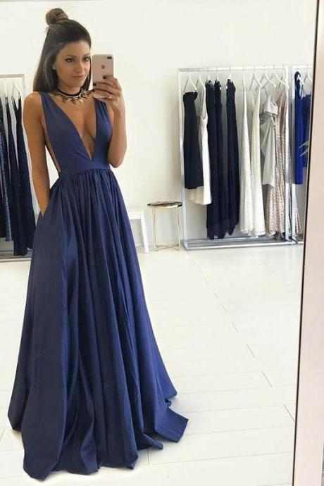 Hot Selling A-Line Deep V-Neck Sleeveless Floor Length Prom Dress With Pleats
