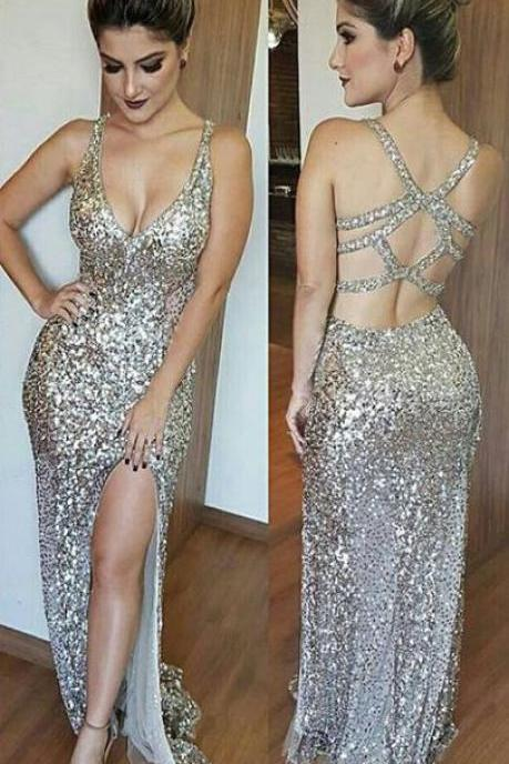 Sexy Sheath Straps Split Front Sequined Long Prom Dress
