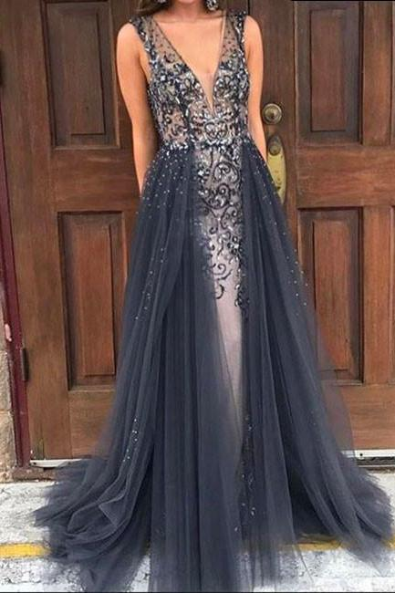 Unique gray v neck tulle long prom dress, gray evening dress