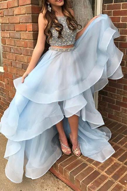 Light blue two pieces sequin prom dress, high low evening dress