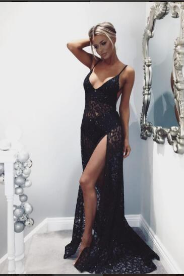 Sexy Prom Dress,Formal Evening Dress,Long Evening Dress,High Slit Lace Prom Dress,Sleeveless Beaded Prom Dresses