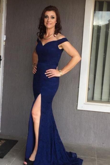 Elegant Mermaid Off-The-Shoulder Split Front Navy Blue Lace Long Prom Dress