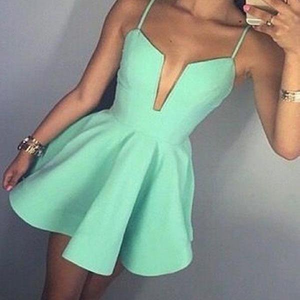 Simple A-Line Spaghetti Straps V-Neck Light Green Satin Short Homecoming Dress