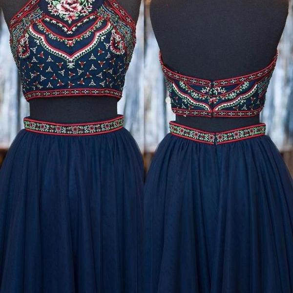 Fashion Two Piece A-Line Halter Short Homecoming Dress With Embroidery