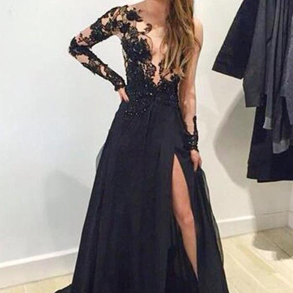 Unique A-Line V-Neck Long Sleeves Split Front Black Sweep Train Prom Dress With Lace