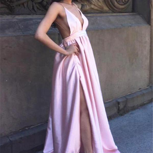 Sexy Backless Simple Evening Dresses 2017 V-neck Side Split Prom Dress in Satin